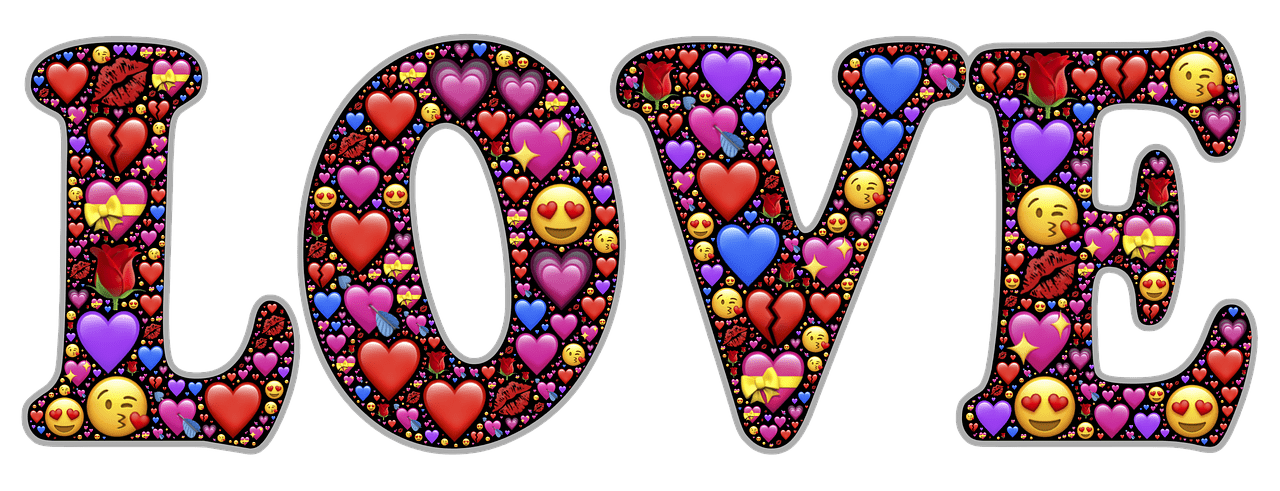 love made of hearts and emoticons